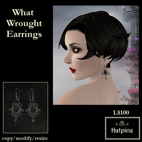 Hatpins - What Wrought Earrings - Jet