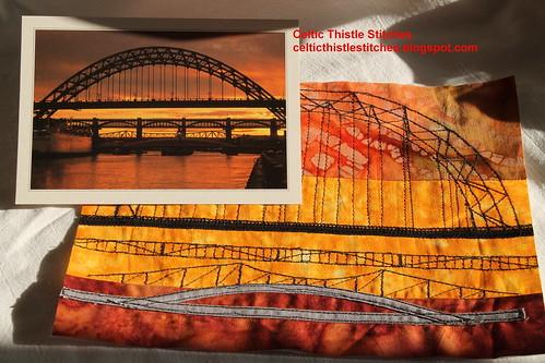 Tyne Bridges postcard and block