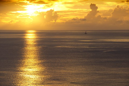sunset clouds cloudy stlucia sailingboat reflectiononsea