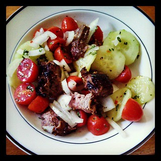 Fridge cleaning lunch! Leftover #steak and #PaulaDeen #CucumberTomatoOnion salad