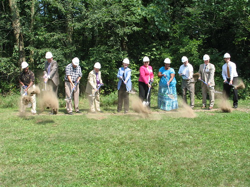 Michigan Senator Debbie Stabenow  (sixth from left) joins officials in breaking ground for a new health care facility funded in part by USDA. USDA photo.