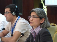 Sharon James, Dockers' Section Secretary with Said El Hairech, UMT Morocco, Dockers' Chair