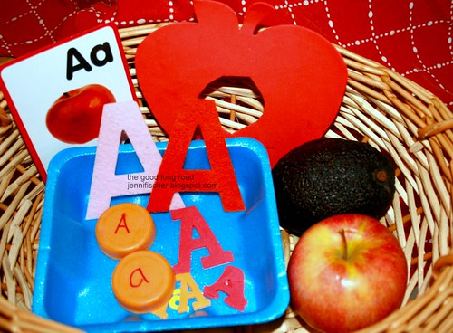 A is for Apple Sensory Basket (Photo from The Good Long Road)