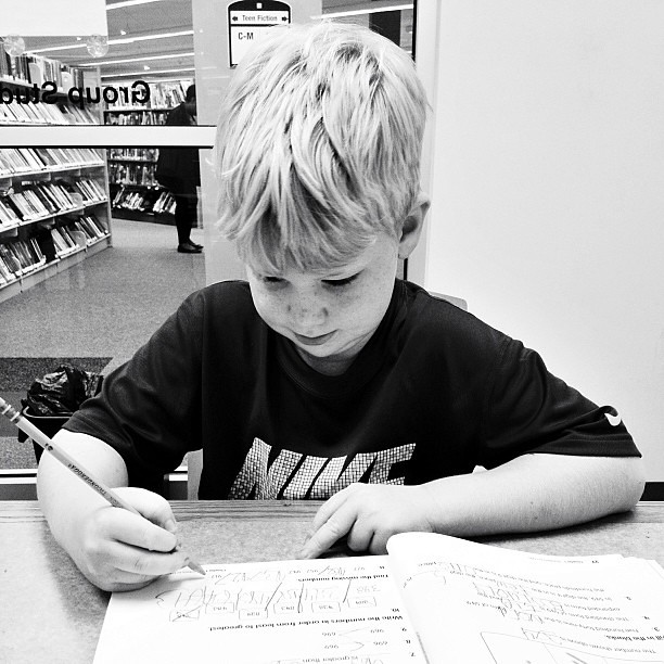 School at the library this morning with my buddy... #homeschool, #1000gifts