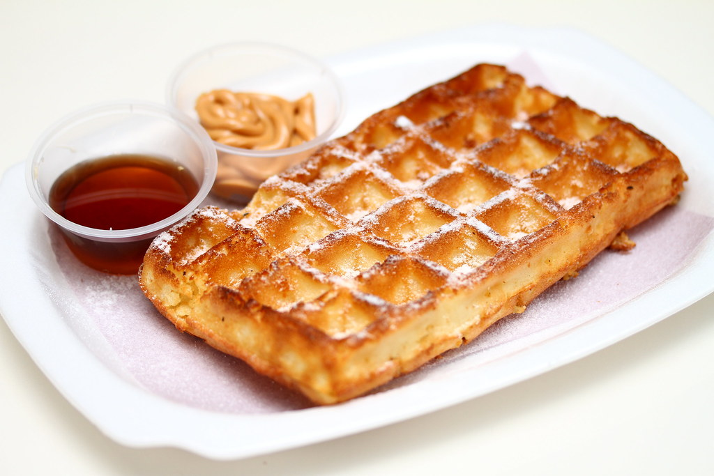 Triple O: Whole Wheat Waffle with Syrup & Peanut Butter