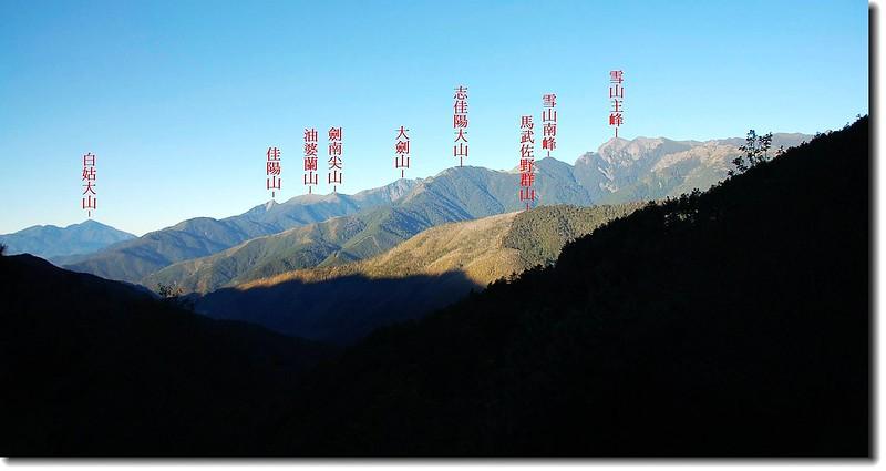710林道遙望雪劍、白姑 1