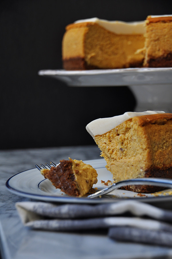 Pumpkin Cheesecake with Marshmallow Sour Cream Topping - A Life Well ...