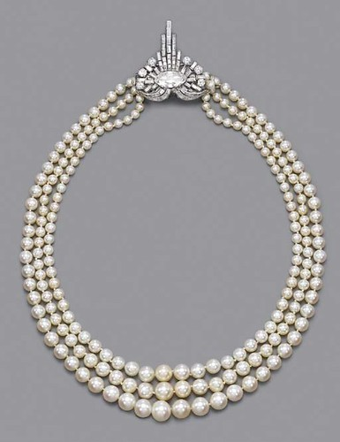 1925 ART DECO PEARL & DIAMOND NECKLACE