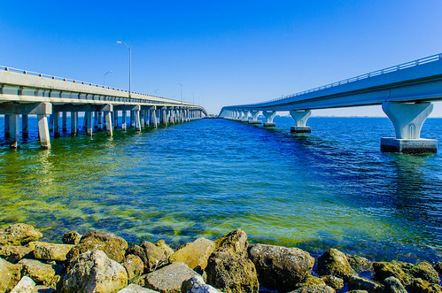 View between the two bridges spanning Tampa Bay