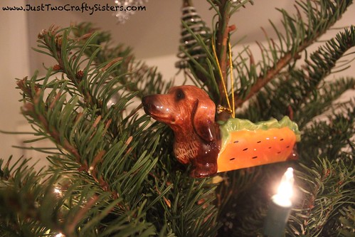 Wiener dog christmas ornament