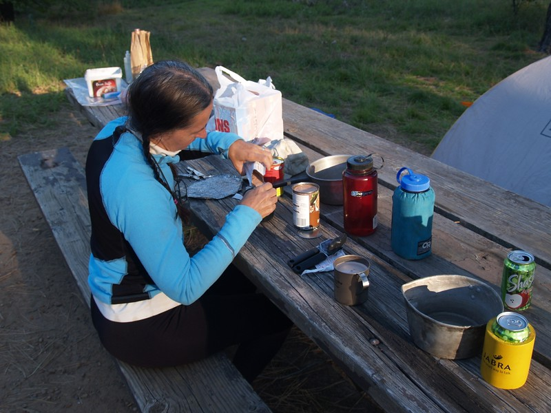 Eating dinner while car-camping at Laguna Campground