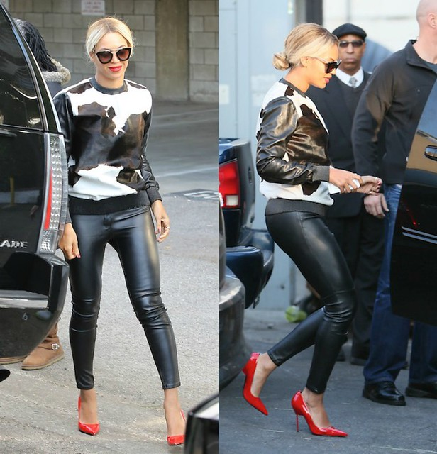 Givenchy_Sweatshirt_faux_pony, beyonce in Givenchy cow print sweater, cow print calf hair sweater, red Kurt Geiger Britton stilettos, Givenchy Sweatshirt faux pony, Pre fall collection