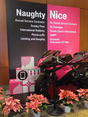 Naughty and Nice, handheld and cell device packages, Magenta (pink) and black Ducati, pointsettas, Saint Nucks Liat Published, Team Mobile, Faxtoria, Washington, USA by Wonderlane