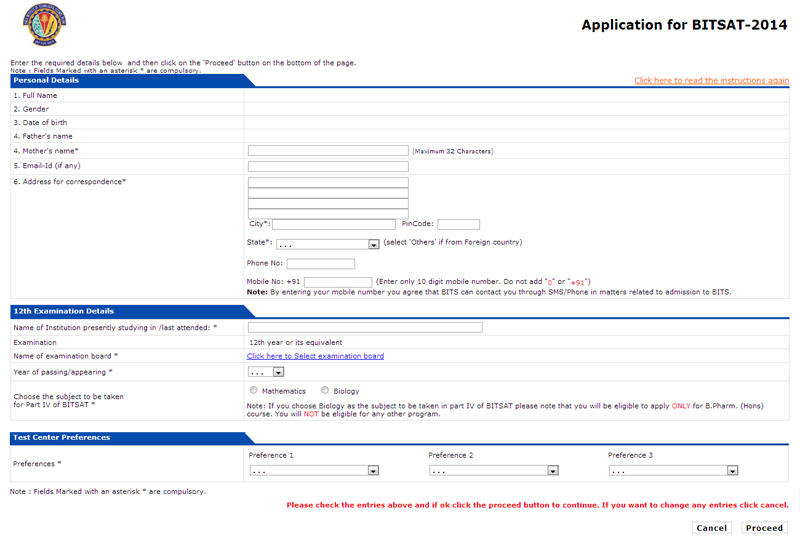 BITSAT 2014 Application Form Filling Guide in bits  Category