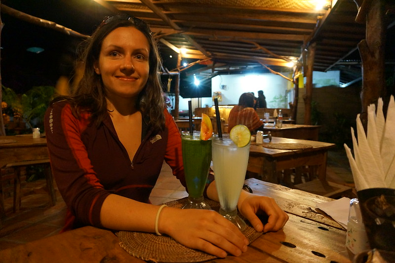 Enjoying delicious food and drinks at the Monda Made Oka Warung Homestay in Munduk