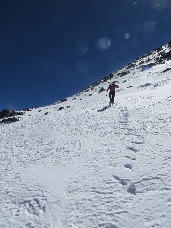 Nearing the summit of El Muerto (6510m), in the wind
