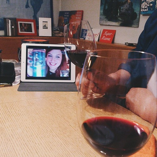 "my happy place: we are drinking red wine with my little sister, who is 1000 miles away. behind the ipad is our so called ""happy corner"" (we call it like that since feb '12 <3). #FMSphotoaday #photooftheday #photoaday #photoadayjan @fatmumslim #linz #famil"