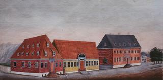 Munkegata med Det Militære Bakeri, Ekserserhuset og Katedralskolen (1810)