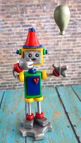 Robot Birthday Cake Topper Red Ken by HerArtSheLoves