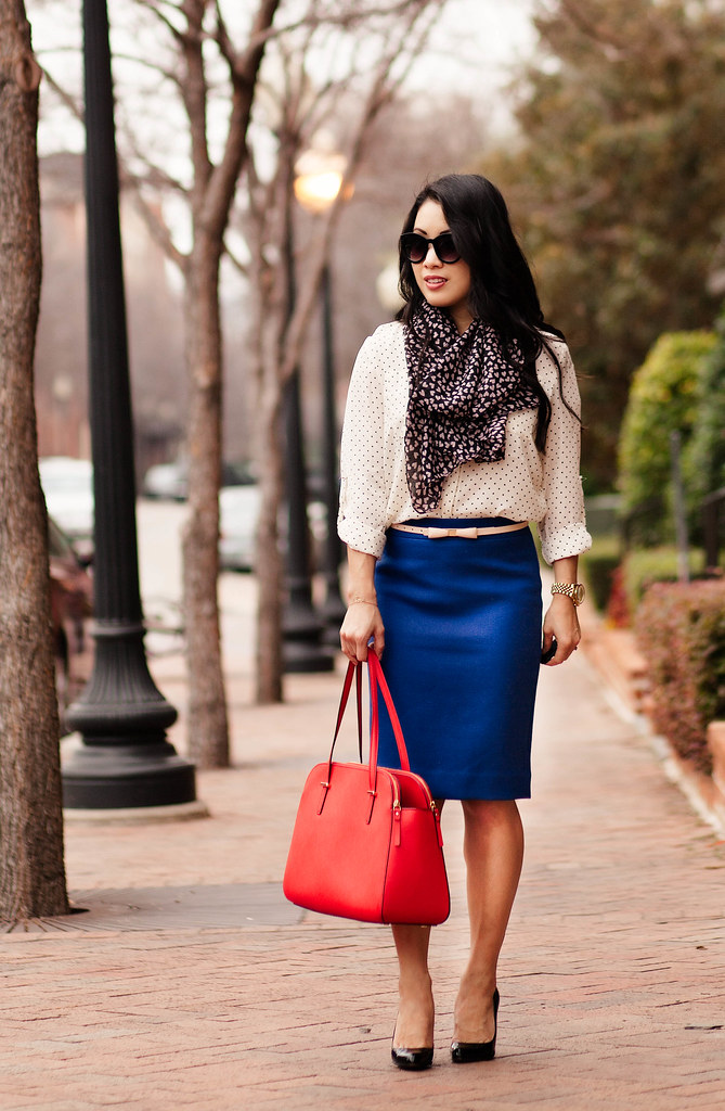 cute & little blog | pattern print mixing outfit | black white polka dot shirt, heart print scarf, bow belt, cobalt blue pencil skirt, kate spade elissa red bag
