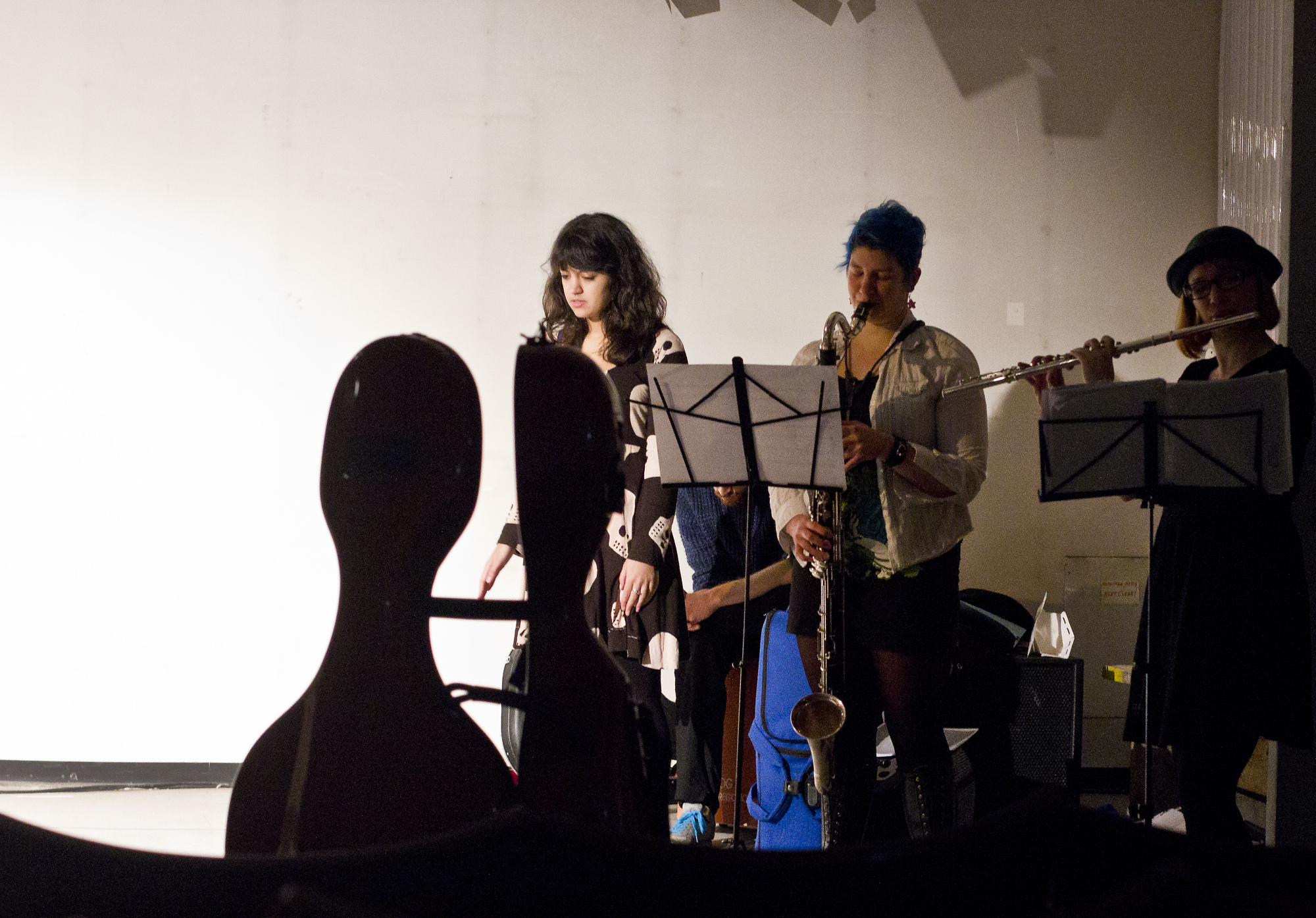 Laila, Emily, cello case, rehearsing, lovely head