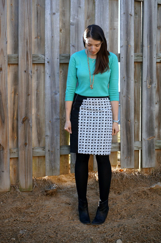 mint sweater and nautical skirt