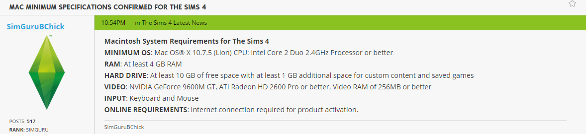 The Sims 4: Minimum System Requirements for Mac! - Sims Community
