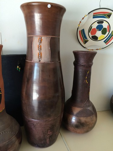 Martin Mayongo pots with beads, TheBarn,  Khayelitsha, Cape Town South Africa