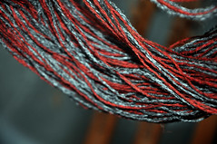 textile, red, thread, close-up,
