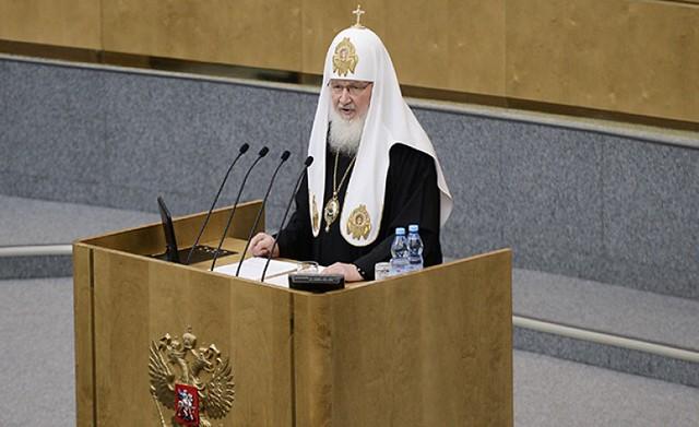 Patriarca ruso hablando a la Duma