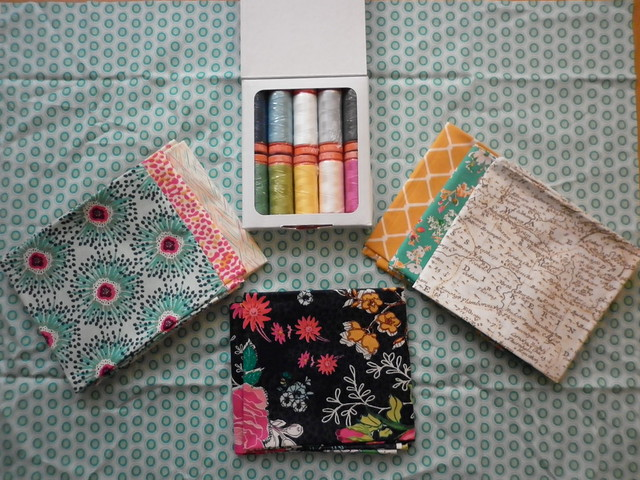 Aurifil thread collection (Gleeful by Caroline Hulse) and AGF Priory Square (by Katy Jones)