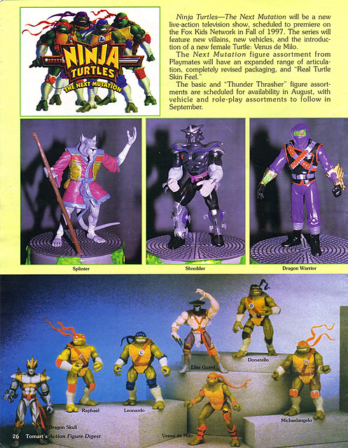 "Tomart's Action Figure Digest #xx :: pgs.26, 27 TOY FAIR '97, PLAYMATES ""NINJA TURTLES: THE NEXT MUTATION (( April 1997 ))"