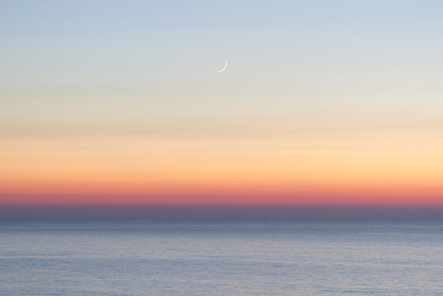 Sunset with the moon
