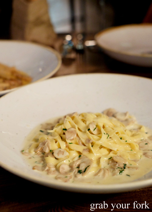 Tagliatelle boscaiola at Bar Machiavelli in Rushcutters Bay