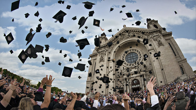 graduation hat toss cathedral of st. paul, minnesota