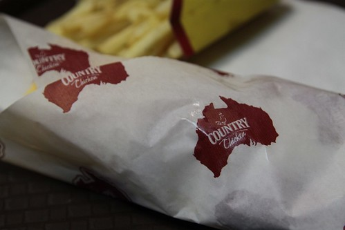 Outline of Australia features on the 'Кантри Чикен' (Country Chicken) wrappers