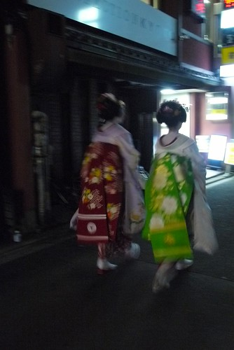 spotted two fully dressed geisha as we head out!  my camera was too slow to focus so I didn't get a good picture of their face :(