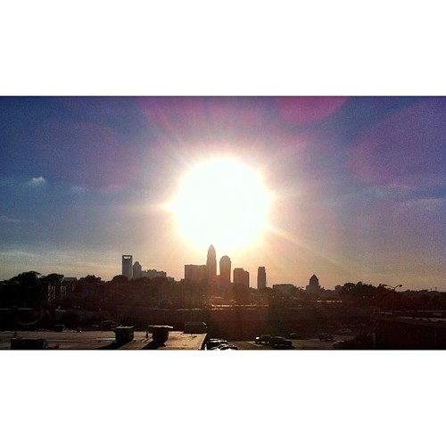 I love the f'in #sun #nofilter needed #clt #skyline