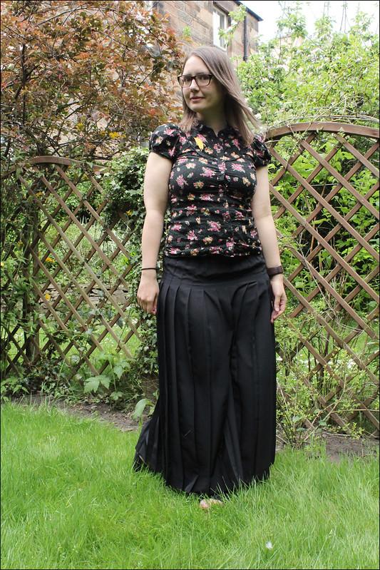 black maxi and florals