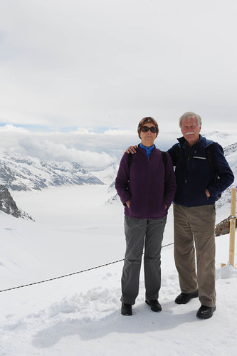 Parents with Aletsch Glacier in background.