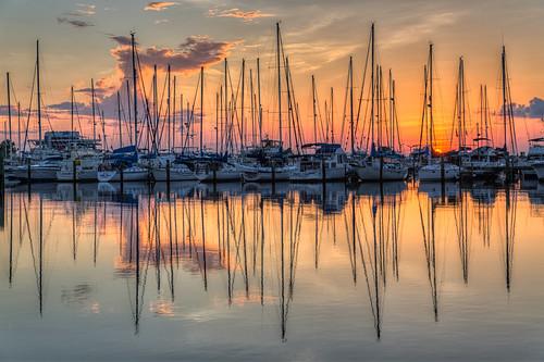 reflection clouds sunrise stpetersburg florida