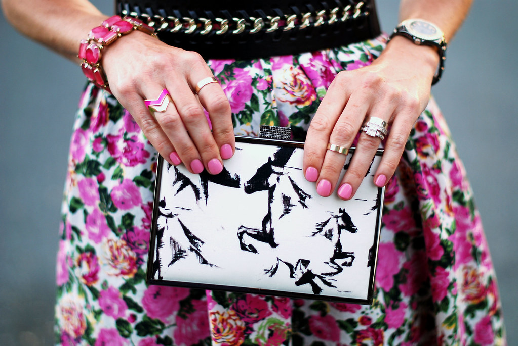 French Connection Wild Horses clutch & pink florals