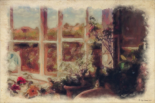 Image of my porch using Alien Skin's Snap Art 3 Photoshop plug-in