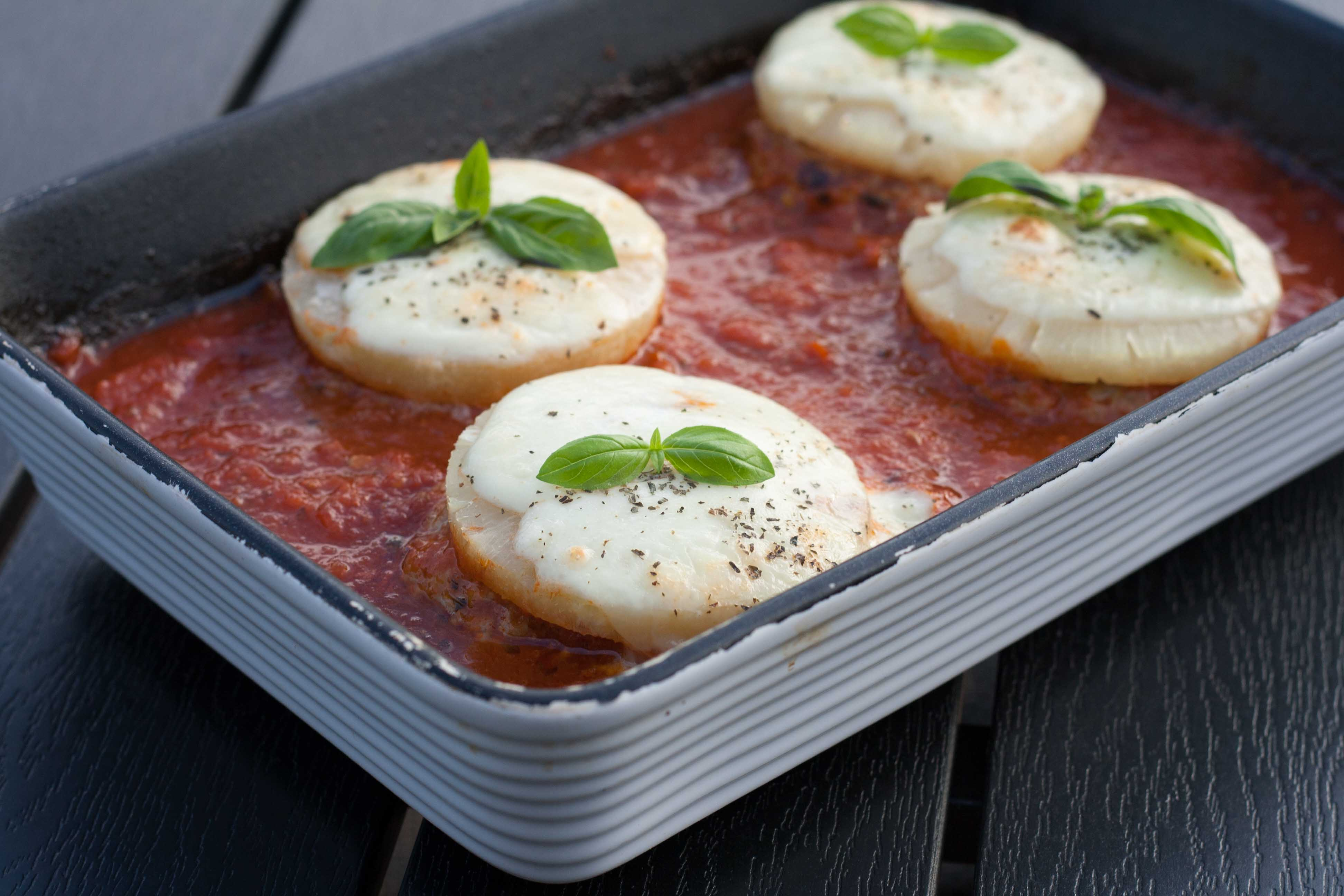 Hawaii Pork Patties in delicious tomato sauce wiht mozzarella and basil