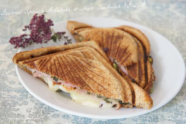 Gourmet Spinach Artichoke & Ham Sandwich {Grilled}
