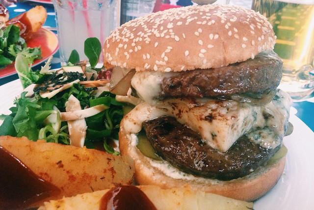 the monster burger at Tiki Heart