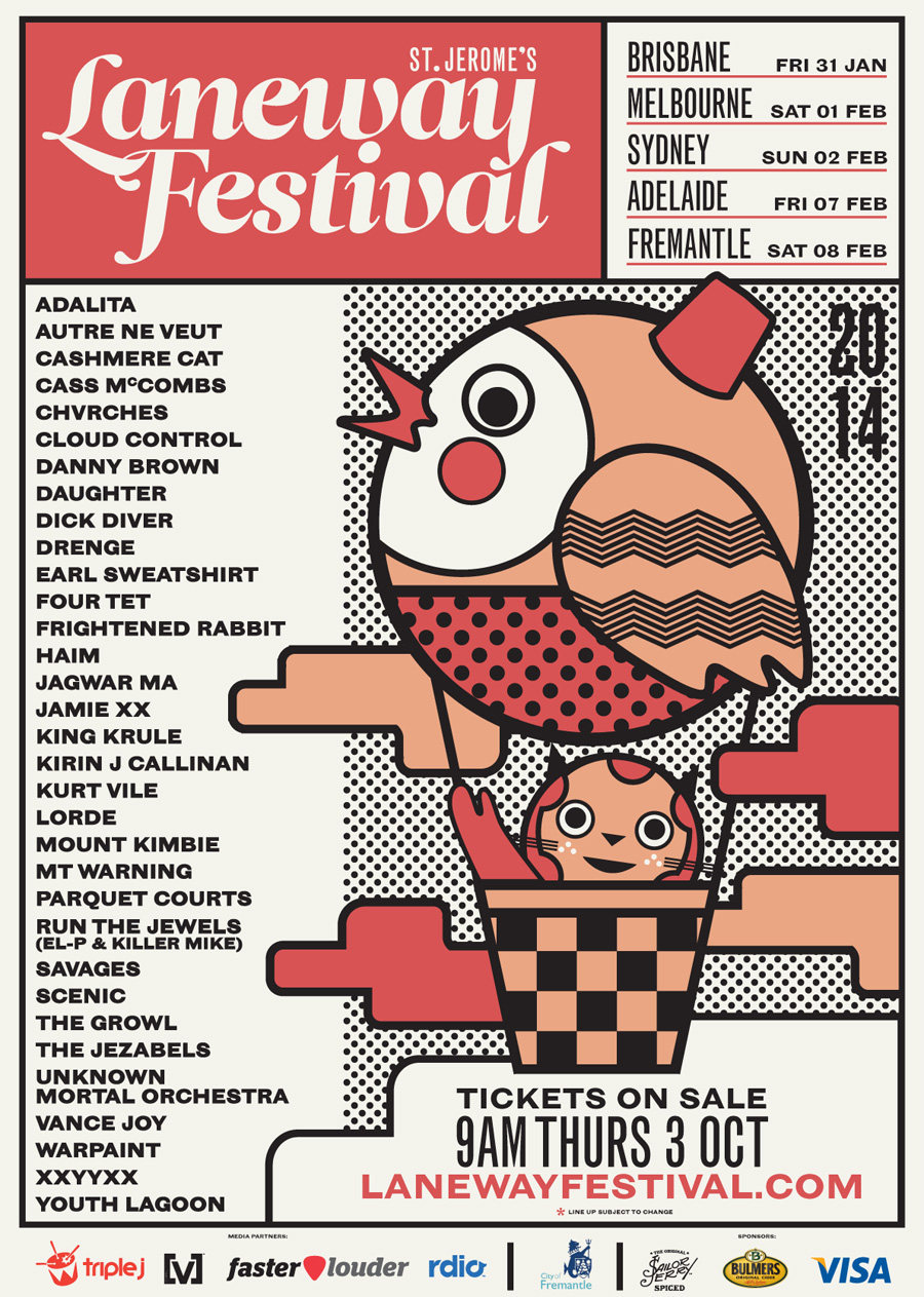 St Jerome's Laneway Festival 2014 poster.