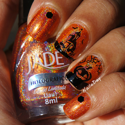 NailaDay: Adventures in Stamping Sunday Stamping: Jade Uau! with Halloween stamping