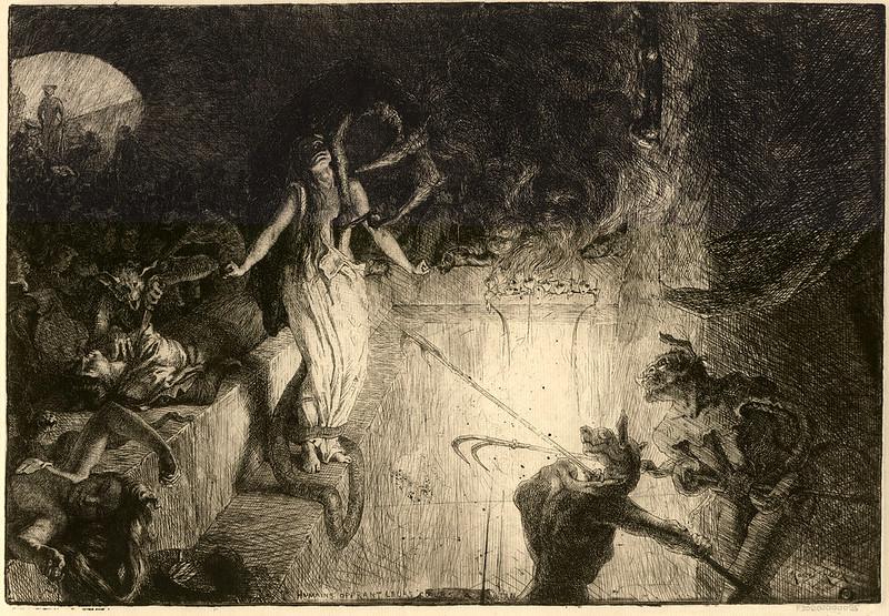 Marcel Roux - Humains offrant leurs coeurs à Satan (1904)