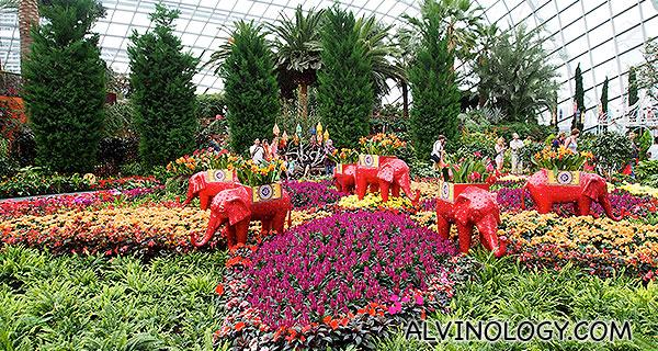 Deepavali display at the Flower Dome